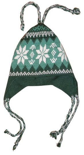 Other Green & White Snowflake Beanie Hat