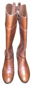 Tory Burch 10.5 11 Confortable Flat Tall Zipper Logo Knee Hi Brown Boots