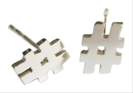Dalia Shamir Jewelry Dalia Shamir Jewelry Sterling Silver Hashtag Stud Earrings 5/16in High