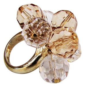 Kate Spade NEW Kate Spade New York Gold Clear Cluster Glass Bead Ring Sz 8