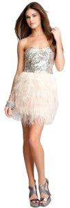 bebe Sequin Feathers Mini Bachelorette Party Pink Dress
