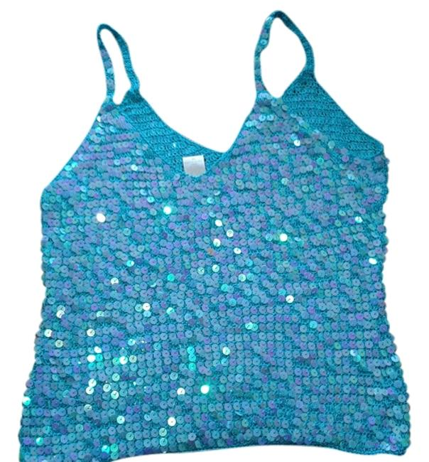 Carabella Top turquoise/sequins