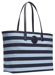 Tory Burch Nylon; 100% Guaranteed Or Your Money Back! Tote in Tory Navy Classic Awning Stripe Combo B