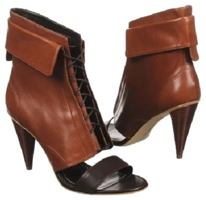 Report Signature Leather Ankle Cuff Lace Up Cognac Boots