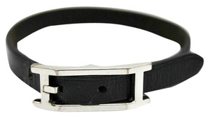 Hermès Authentic Hermes Black Leather Hapi Wrap Bracelet with Hermes Box