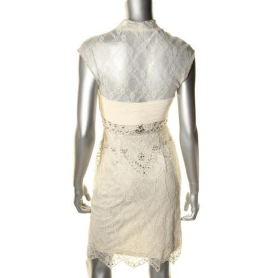 Sue Wong White Special Occasion Gown Knee Length Cocktail Dress Size ...