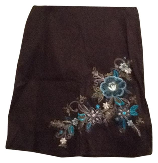 HeartSoul Skirt Black with blue flowers