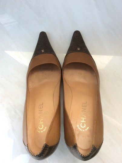 Chanel Tan and Brown Exotic Snakeskin Pumps