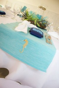 Tiffany Blue / Pool Blue Nautical / Beachy Table Runner Tablecloth