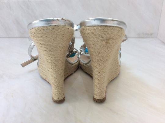 Michael Kors Silver and Turquoise Wedges