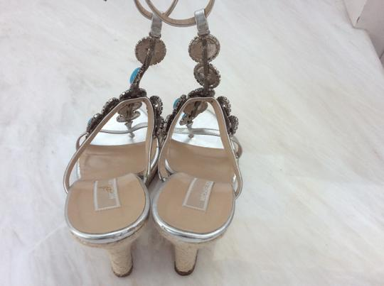 Michael Kors Silver and Turquoise Wedges Image 3