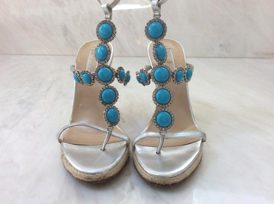 Michael Kors Silver and Turquoise Wedges Image 4