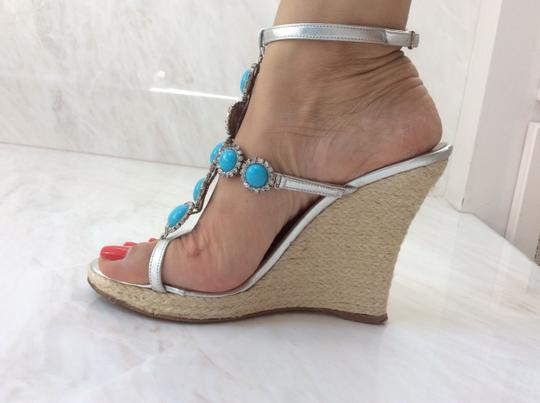 Michael Kors Silver and Turquoise Wedges Image 5