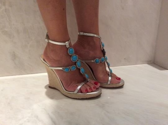Michael Kors Silver and Turquoise Wedges Image 6