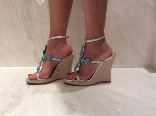 Michael Kors Silver and Turquoise Wedges Image 8