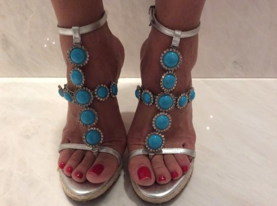 Michael Kors Silver and Turquoise Wedges Image 9