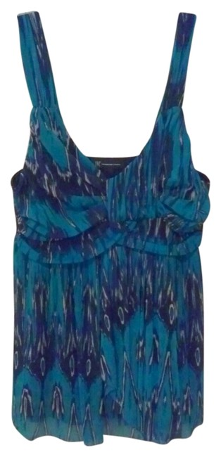 INC International Concepts Edgy Punk Royal Mesh Sexy Boho Artsy Spring Sleeveless Blue Bright Colorful Print Layered Layers Plunging Low Cut Fine Top blue,black