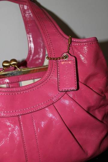 Coach Ergo Patent Rare Satchel in Punch Pink
