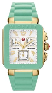 Michele Nwt michele park jelly bean two tone gold seafoam green watch$395