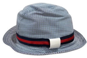 Gucci Gucci Fedora Hat Houndstooth Blue