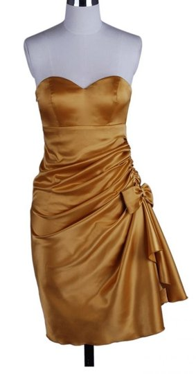 Gold Satin Polyester Strapless Bunched Formal Bridesmaid/Mob Dress Size 6 (S)