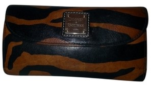 Dooney & Bourke Carmel and Black Stripes Clutch