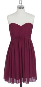 Red Burgundy Strapless Sweetheart Pleated Bust Dress