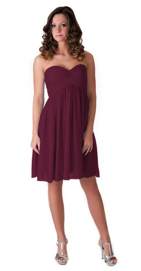 Red Chiffon Burgundy Strapless Sweetheart Pleated Bust Feminine Bridesmaid/Mob Dress Size 2 (XS)