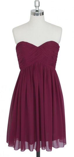 Red Chiffon Burgundy Strapless Sweetheart Pleated Bust Destination Bridesmaid/Mob Dress Size 4 (S)