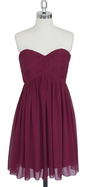 Item - Red Chiffon Burgundy Strapless Sweetheart Pleated Bust Destination Bridesmaid/Mob Dress Size 4 (S)