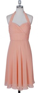 Peach Chiffon Halter Sweetheart Pleated Waist Bust Feminine Bridesmaid/Mob Dress Size 4 (S)