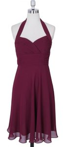Red Chiffon Burgundy Halter Sweetheart Pleated Feminine Bridesmaid/Mob Dress Size 4 (S)