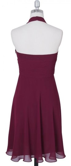 Red Chiffon Burgundy Halter Sweetheart Pleated Feminine Dress Size 4 (S)