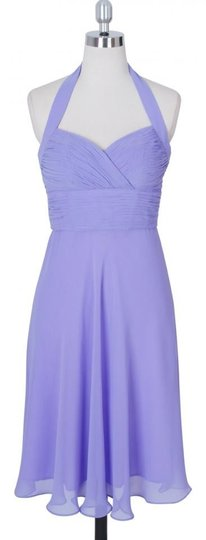Purple Chiffon Lavender Halter Sweetheart Pleated Feminine Bridesmaid/Mob Dress Size 4 (S)