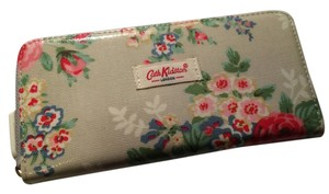 Cath Kidston Cath Kidston - London Light Blue with Red Pink Rose Flora Flowers Oil Cloth Printed Zipped Wallet Purse