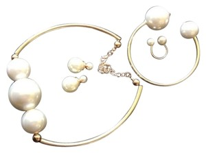 Brand New Triple Set: Pearl Choker with Matching Bangle Double Pearl Bracelet, Double Pearl Ring and Pearl Double Sided Earring