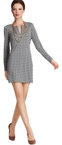 Diane von Furstenberg Dvf Print Chain Shift Classic Reina Long Sleeve Silk Black White Lilly Pulitzer Tory Burch Ralph Lauren Contemporary Dress