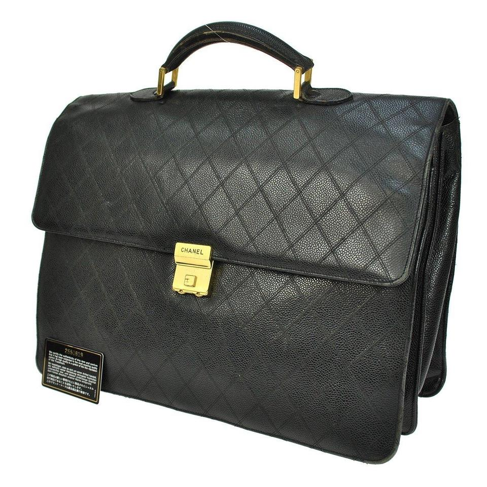 73c9f3aa3f Chanel Paris Briefcase Case Flap Front Documents Black Lambskin Laptop Bag