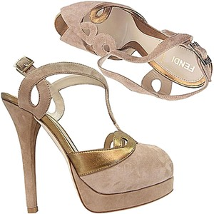 Fendi Beige/Gold Platforms