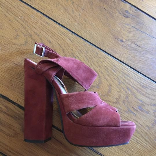 French Connection Heels Sandals Suede Brown Platforms