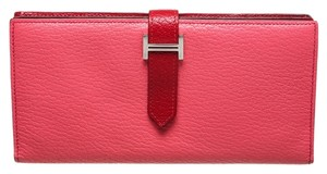 Hermès Hermes Pink and Red Leather Bearn Wallet