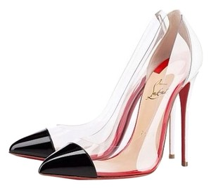 Christian Louboutin Cl Red Bottoms Debout Heels Black/White/Clear Pumps