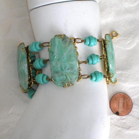 Freirich Vintage FREIRICH French Art Glass RUNWAY Bracelet Carribean Aqua Wavy Glass Cabs