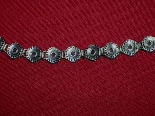 Other Antique Vintage Art Nouveau Sterling Venetian Foil Glass Bracelet Silver Pink