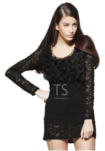 Three Seasons Maternity Lace Long-sleeve Ruffles Vintage Dress