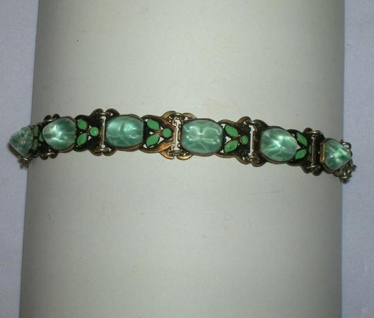 Other Vintage Czech Germany Art Nouveau Brass Enamel Cabochon Bracelet Green Art Glass