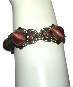 Other Vintage Art Nouveau Brass Enamel Cabochon Bracelet Coral Art Glass Czech Germany