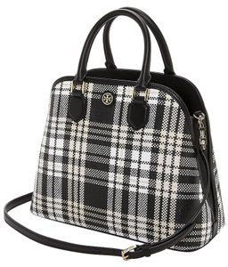 Tory Burch Tory Burch Robinson Plaid Open Dome Black/Beige/White Satchel