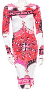 Emilio Pucciemilio Red Pink White Longsleeve Dress