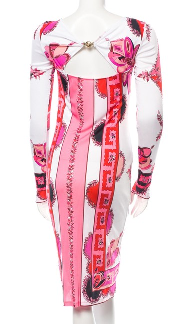 Emilio Pucciemilio Red Pink White Longsleeve Print Floral Dress